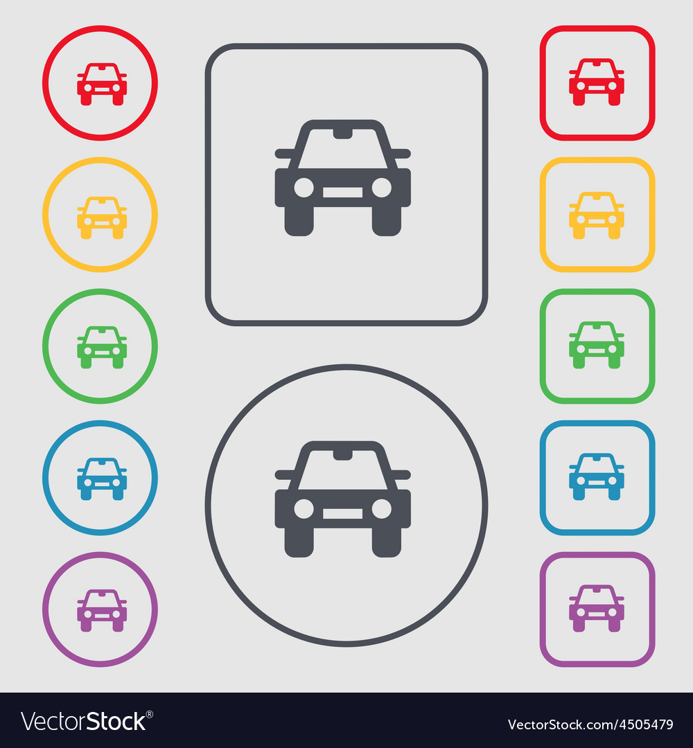 Auto icon sign symbol on the round and square vector | Price: 1 Credit (USD $1)