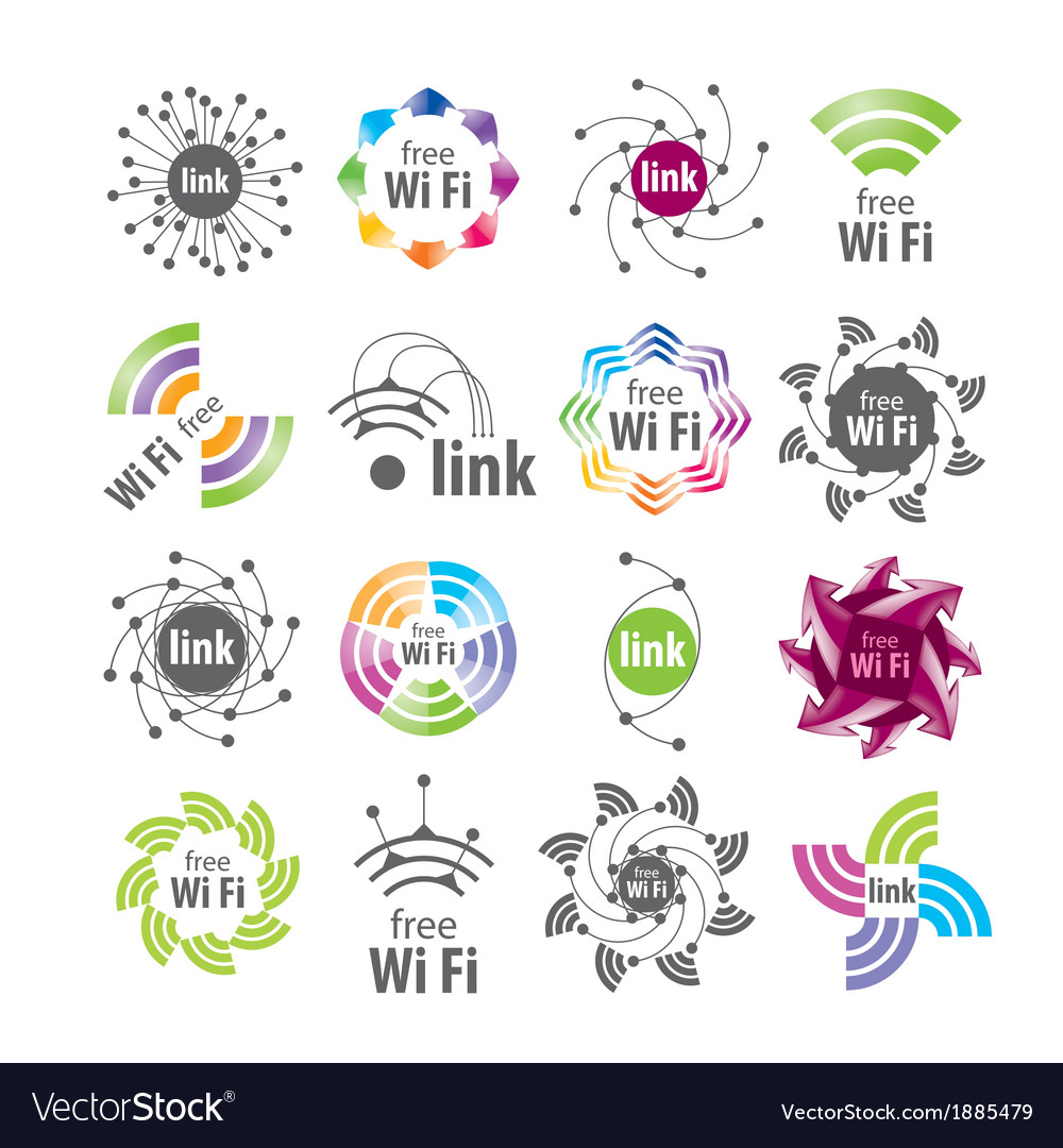 Collection of logos wifi connection vector | Price: 1 Credit (USD $1)