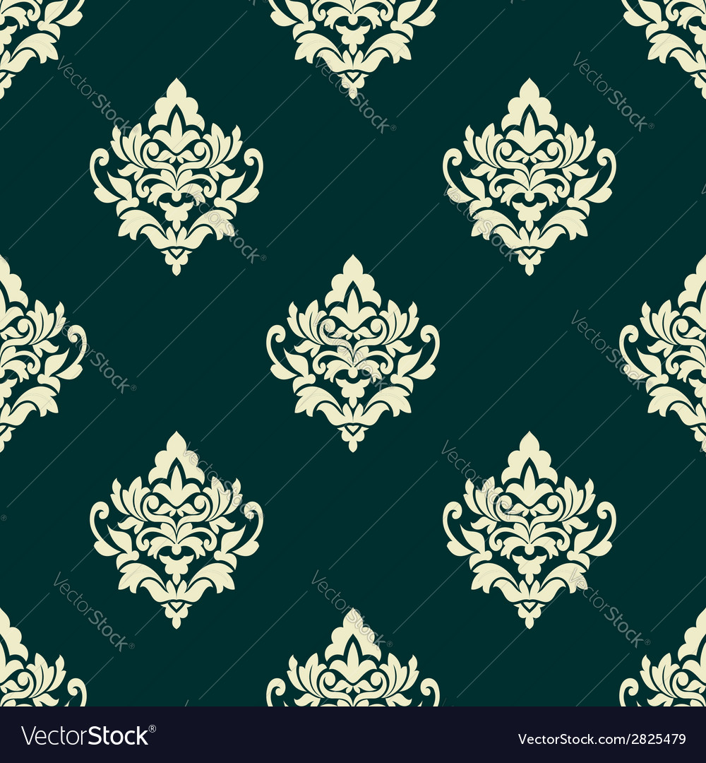 Floral light green damask seamless pattern vector | Price: 1 Credit (USD $1)