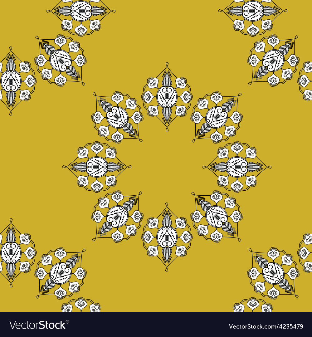 Folk inspired wallpaper with flower shapes gold vector | Price: 1 Credit (USD $1)