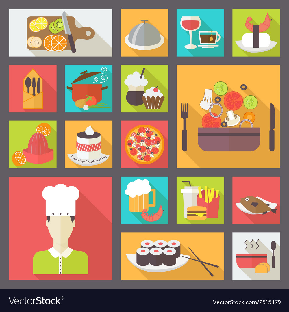 Food icons set for cooking restaurant fast food vector | Price: 1 Credit (USD $1)