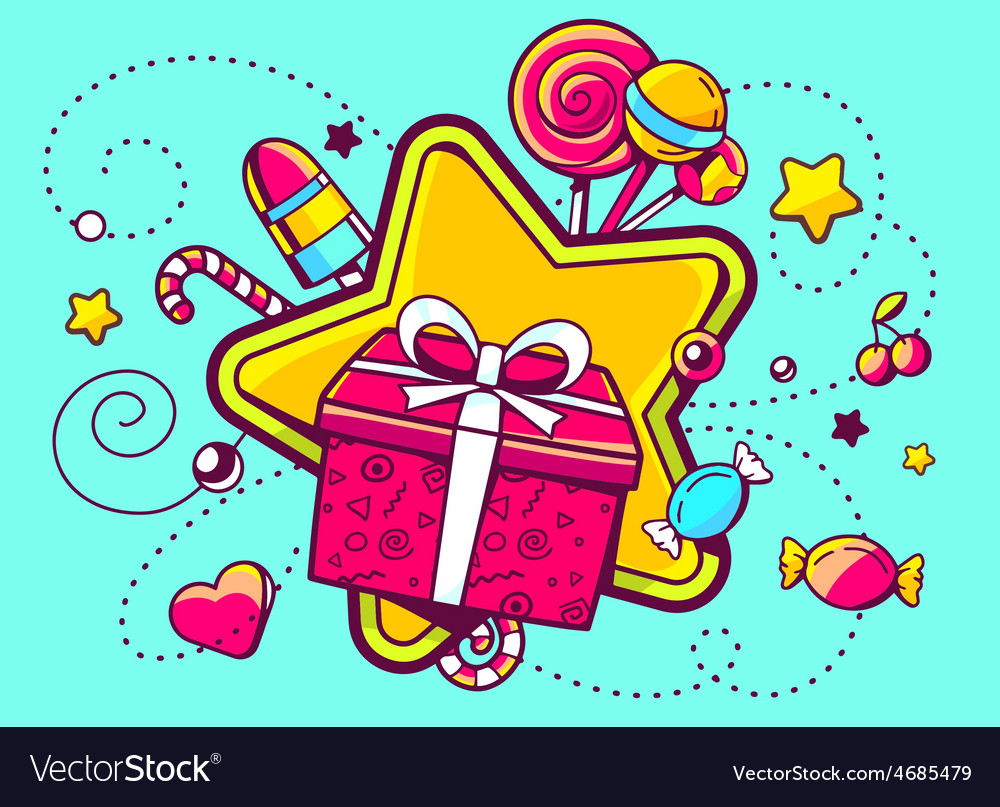 Gift box and confection on green backgro vector | Price: 3 Credit (USD $3)