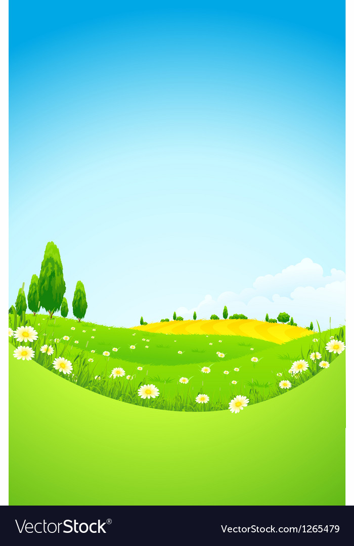 Green landscape with flowers vector | Price: 3 Credit (USD $3)