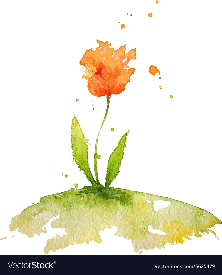 Hand painted watercolor flower vector | Price: 1 Credit (USD $1)