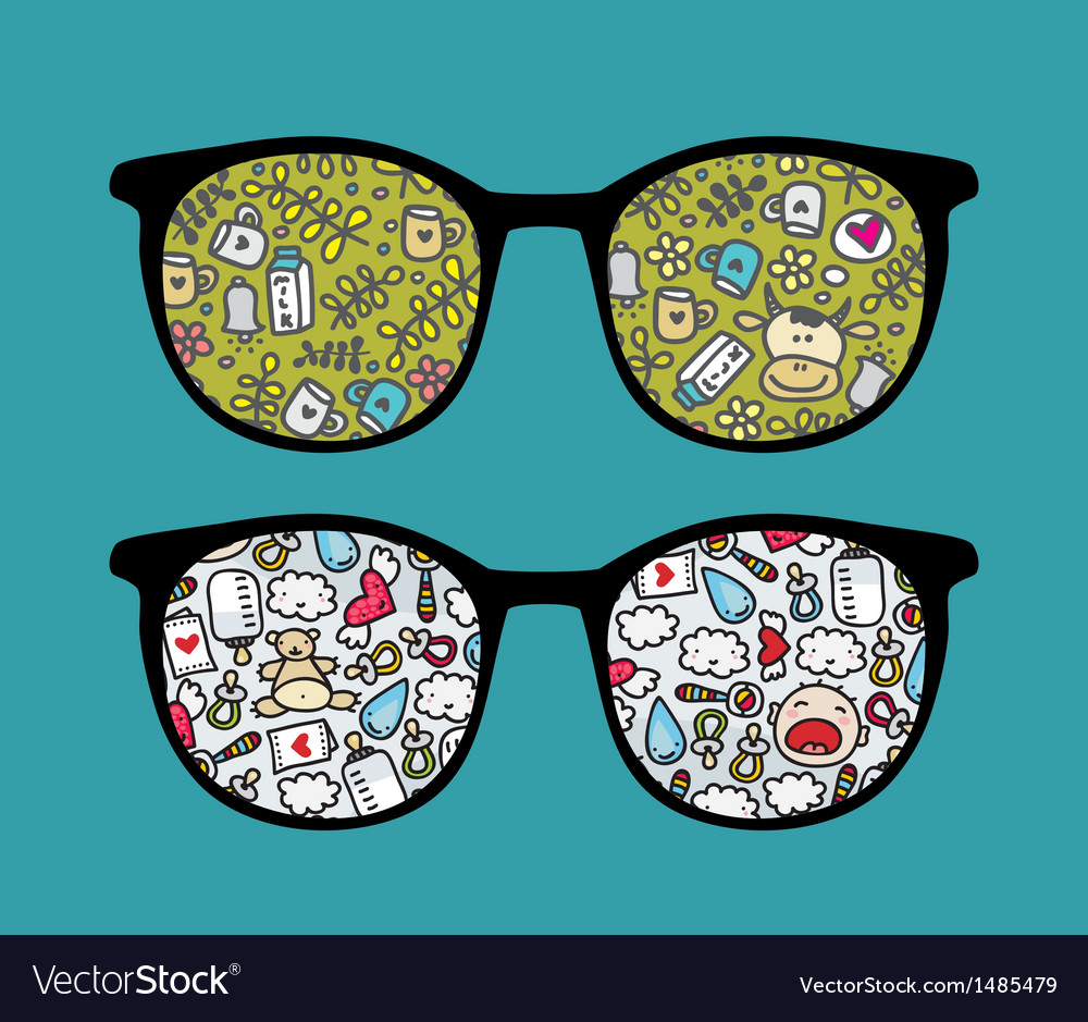 Retro sunglasses with baby reflection in it vector   Price: 1 Credit (USD $1)