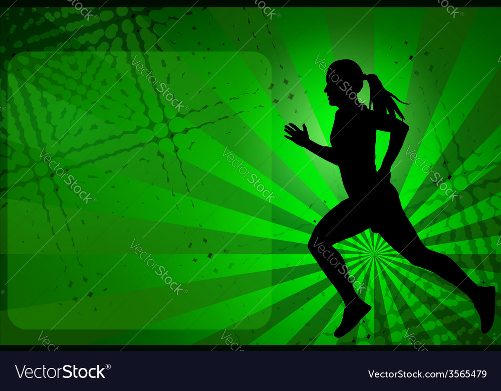 Runner silhouette on the abstract background vector | Price: 1 Credit (USD $1)