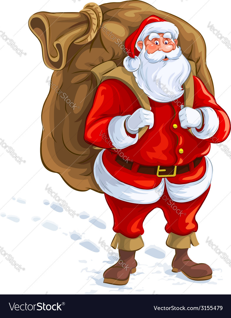 Santa claus with big sack of vector