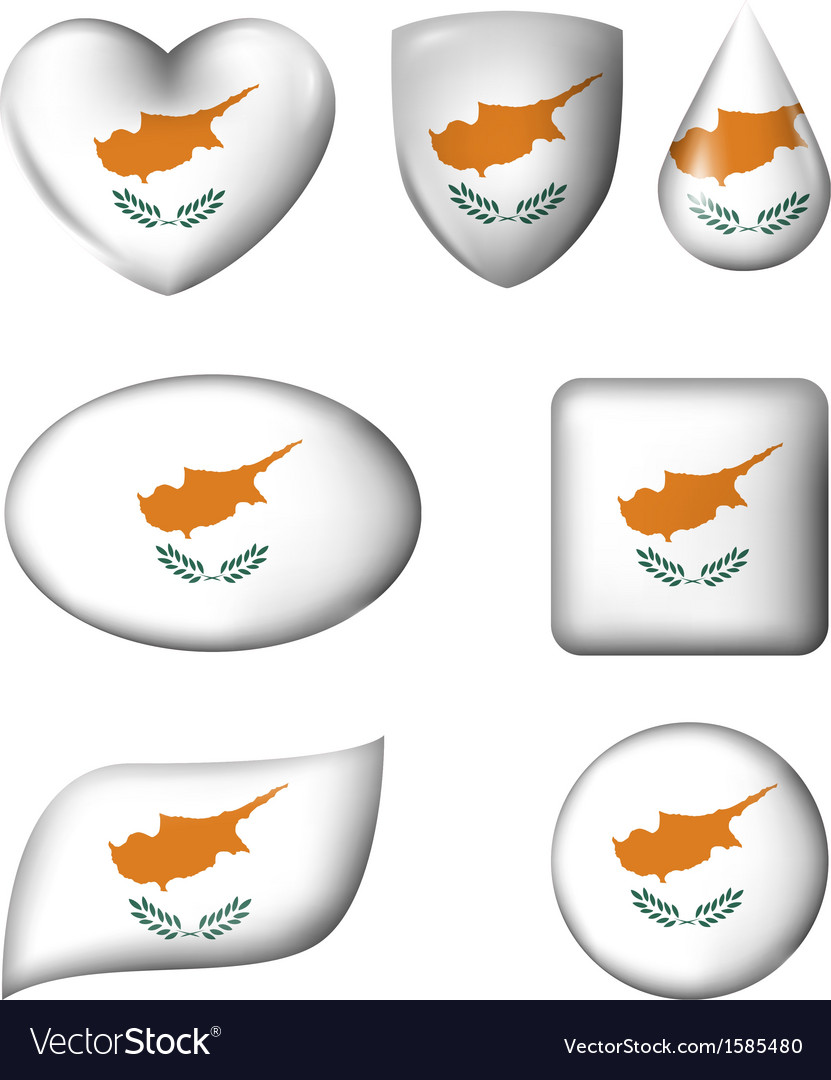 Cyprus flag in various shape glossy button vector | Price: 1 Credit (USD $1)