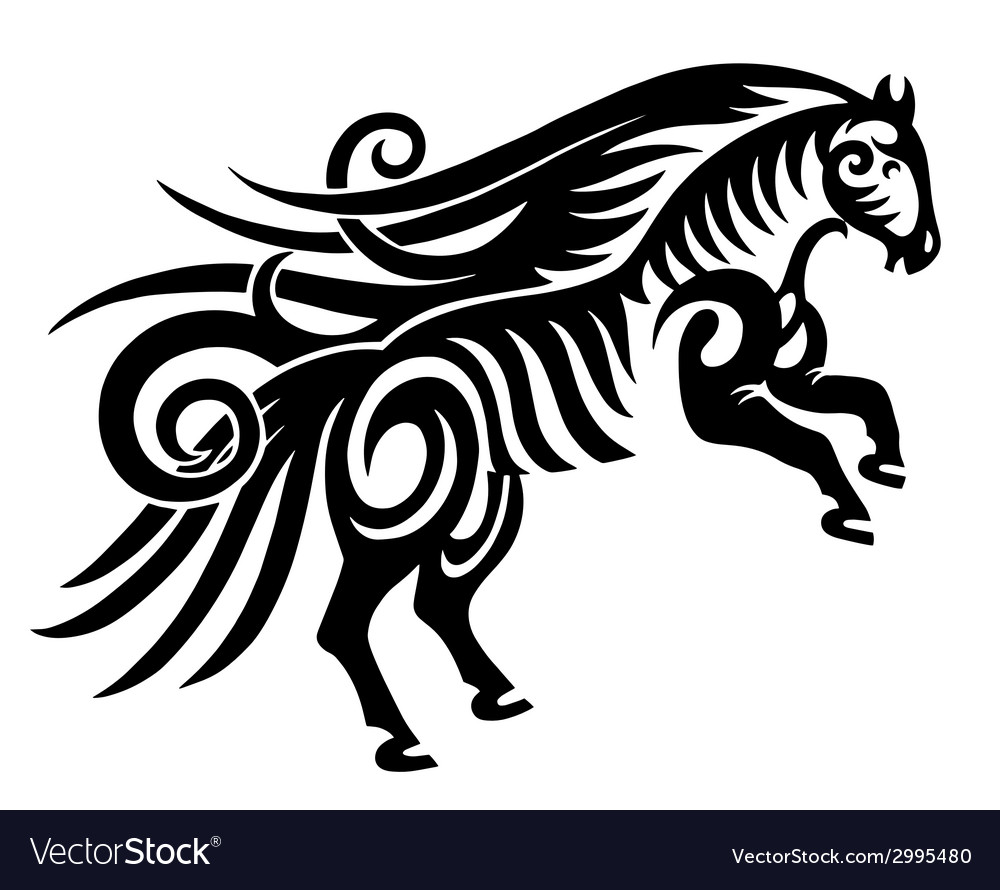 Digital drawing of black tribal horse silhouette vector | Price: 1 Credit (USD $1)