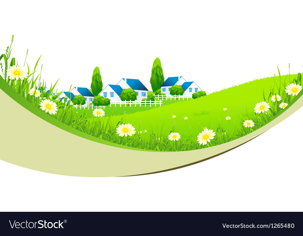 Green landscape with village vector | Price: 3 Credit (USD $3)