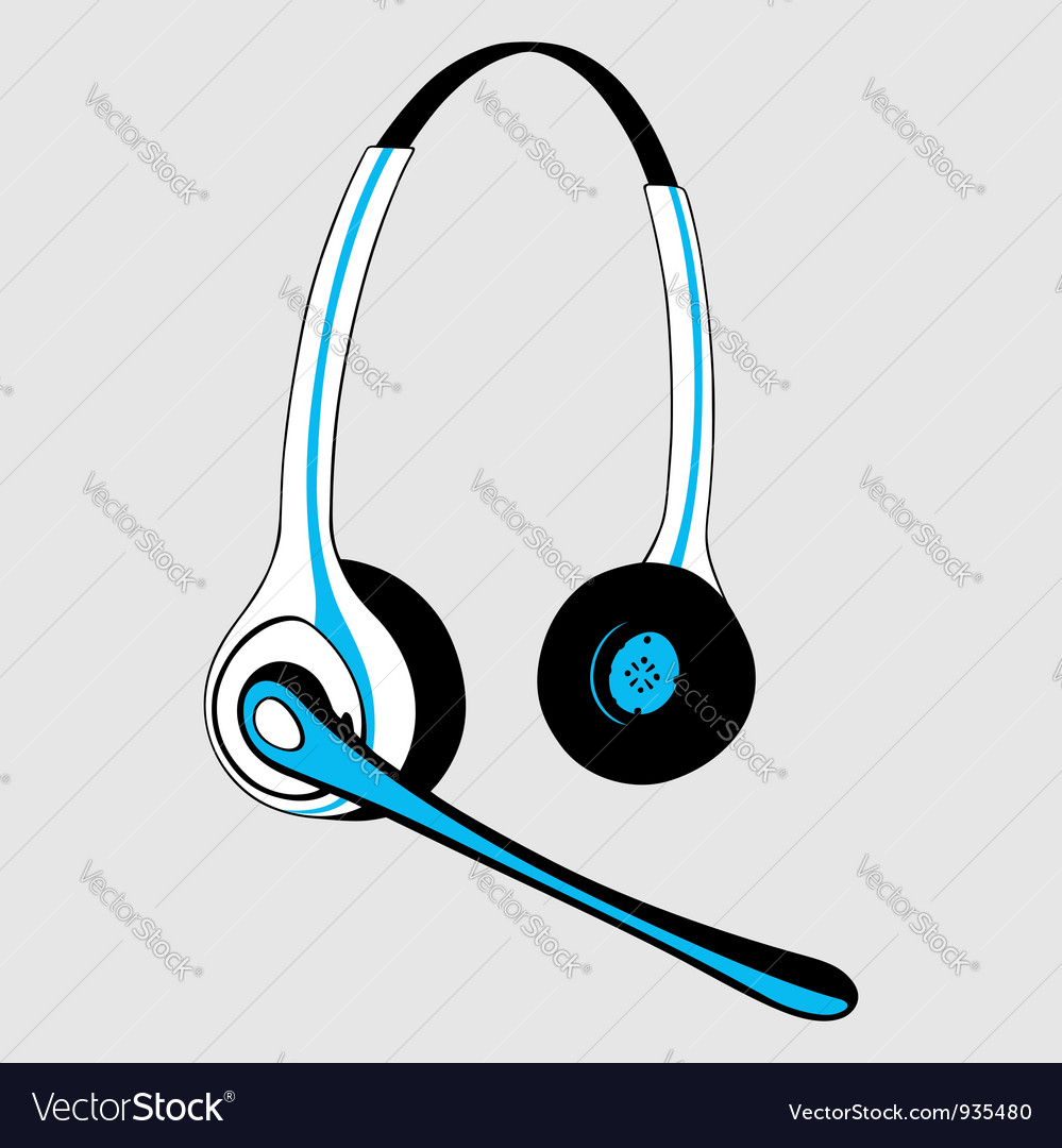 Headset with microphone vector | Price: 1 Credit (USD $1)