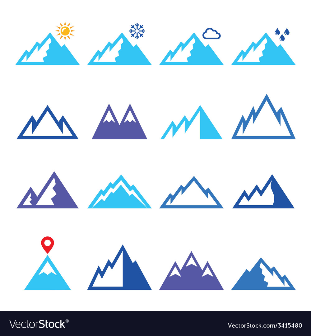 Mountains blue icons set vector | Price: 1 Credit (USD $1)