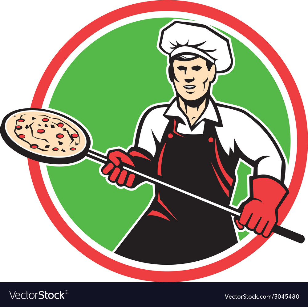 Pizza maker holding peel circle retro vector | Price: 1 Credit (USD $1)