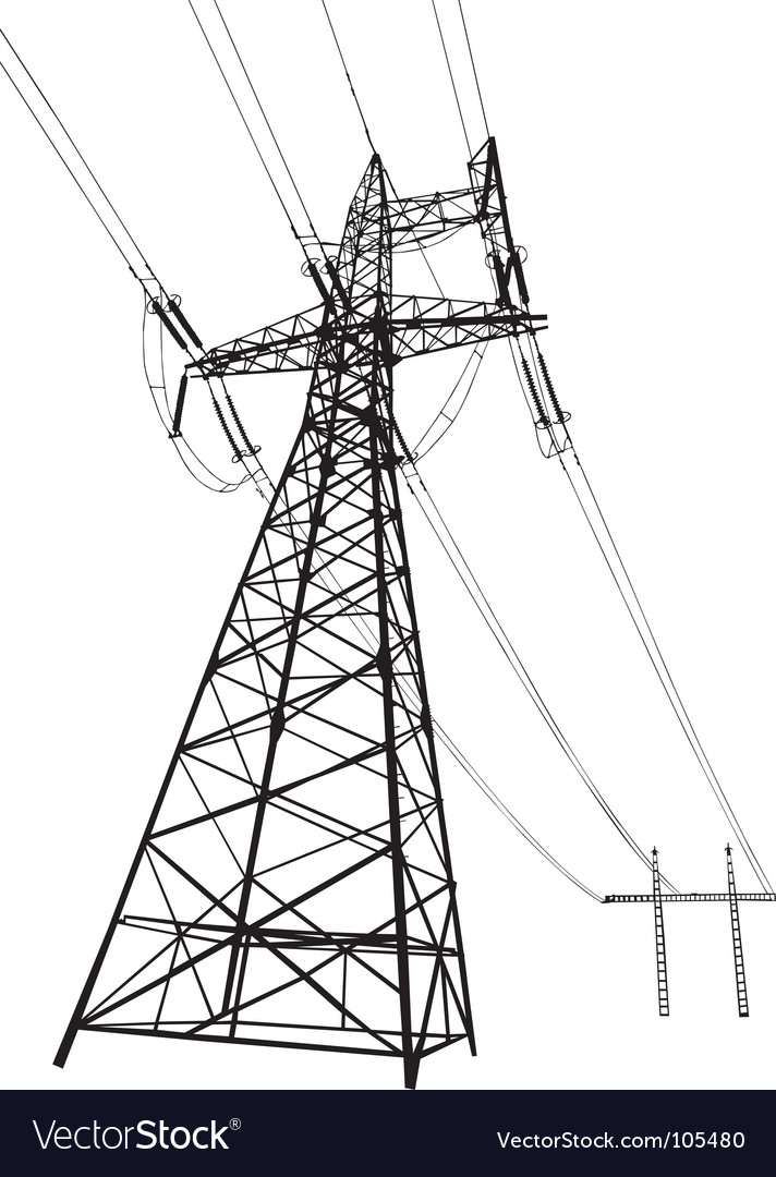 Power lines and electric pylons vector | Price: 1 Credit (USD $1)