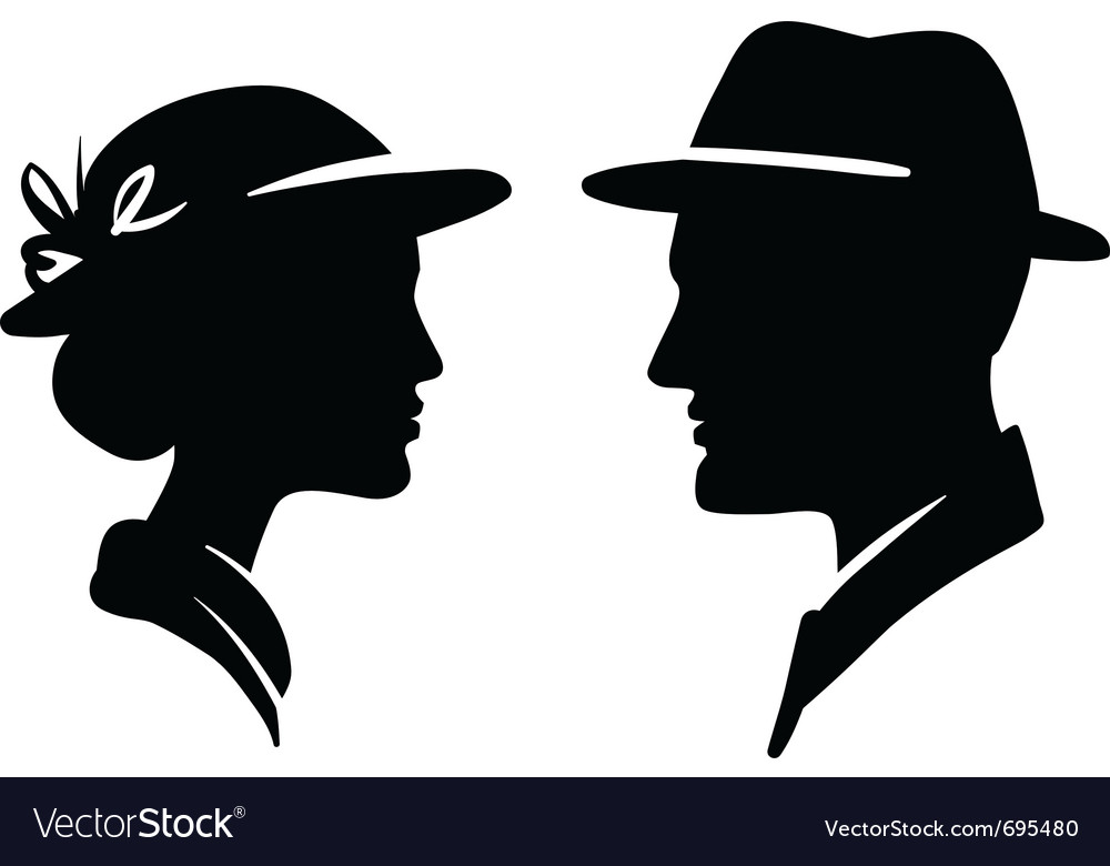 Retro man and woman face profiles vector | Price: 1 Credit (USD $1)