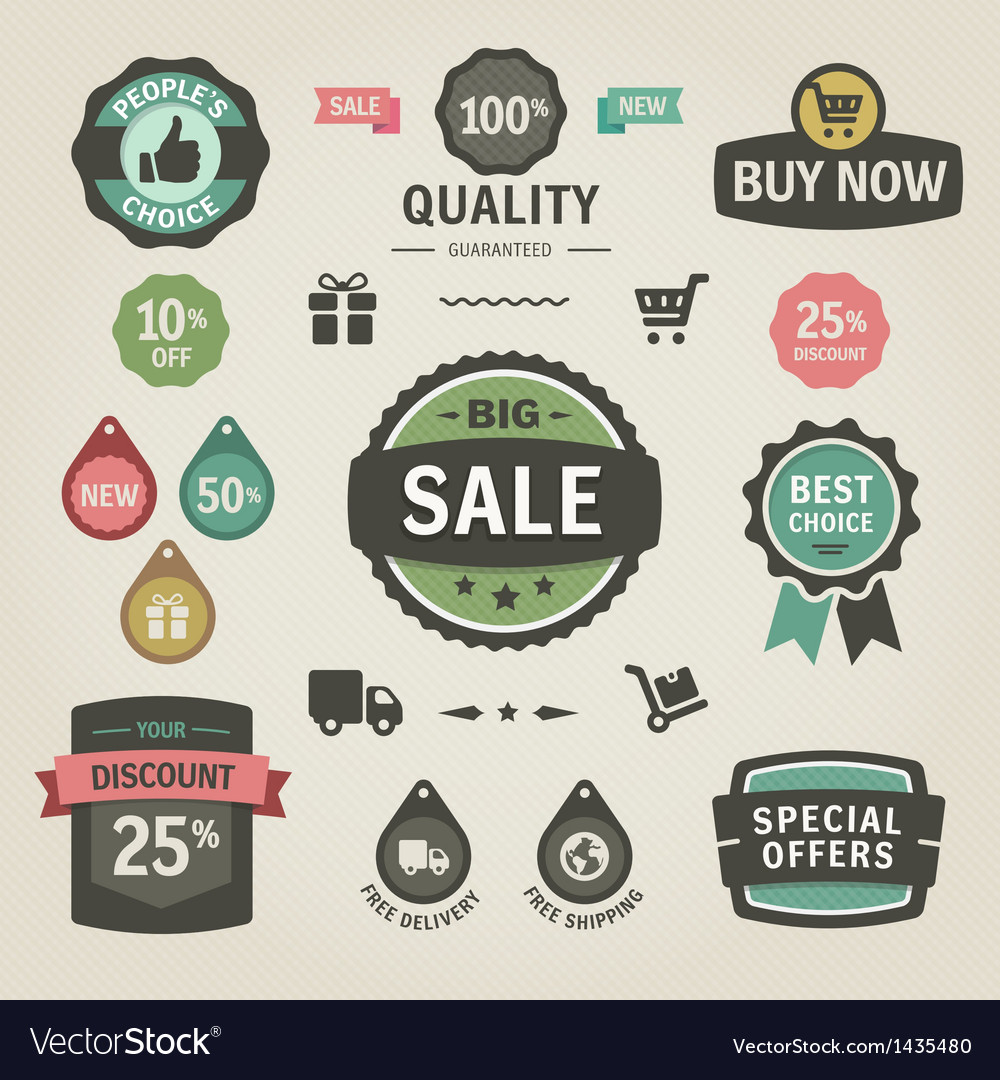 Set of stickers labels tags and icons vector | Price: 3 Credit (USD $3)
