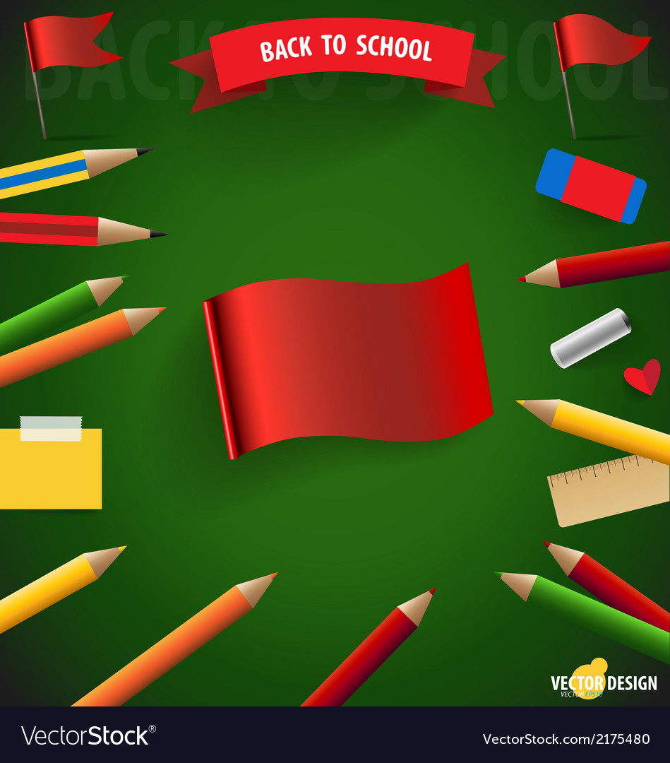 Welcome back to school with red flag vector | Price: 1 Credit (USD $1)