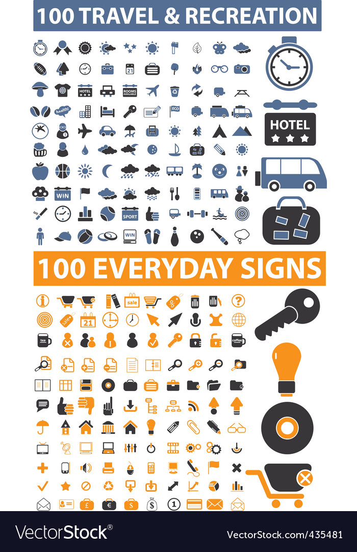 200 travel  everyday signs vector | Price: 1 Credit (USD $1)
