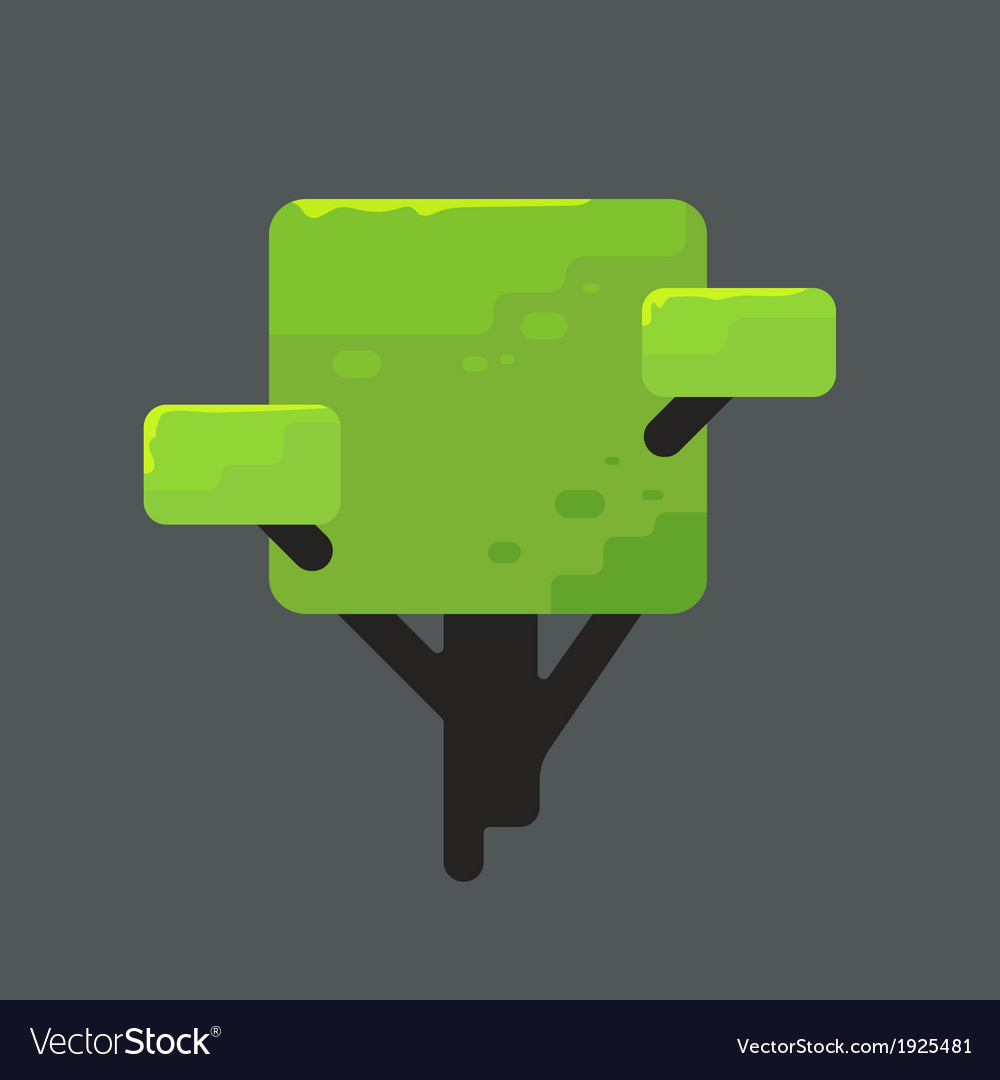 A square tree with green foliage vector | Price: 1 Credit (USD $1)