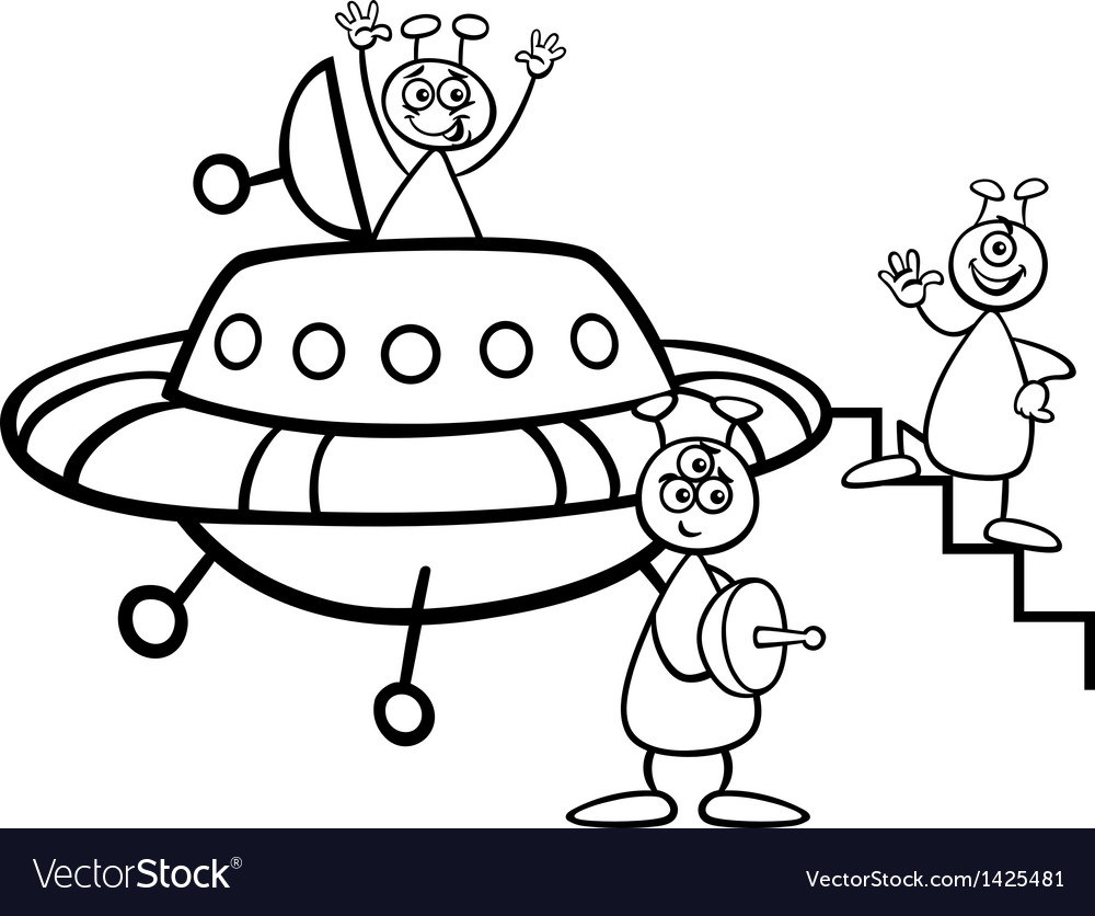 Aliens with ufo for coloring book vector | Price: 1 Credit (USD $1)