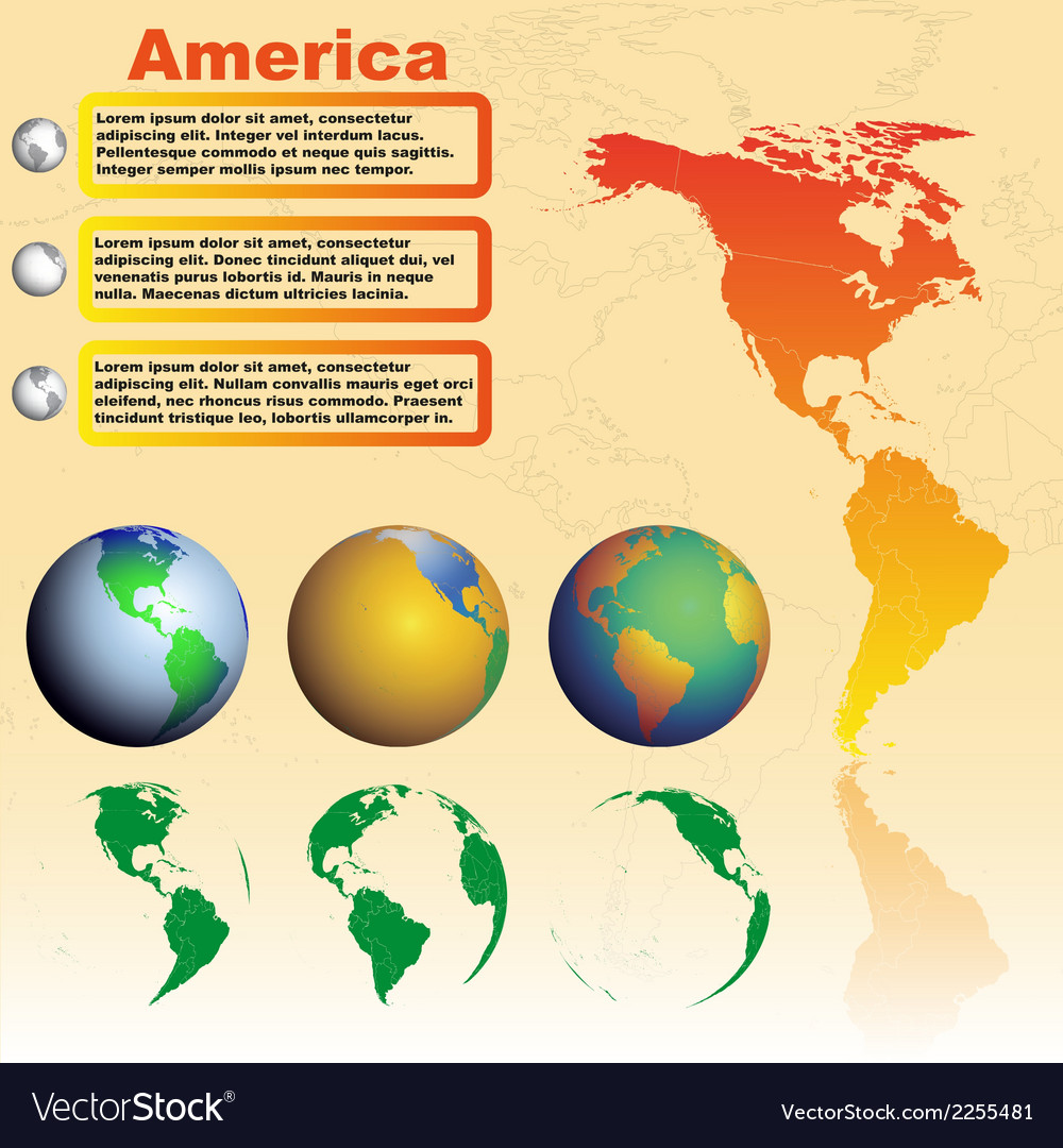 America map on yellow background with world globes vector | Price: 1 Credit (USD $1)