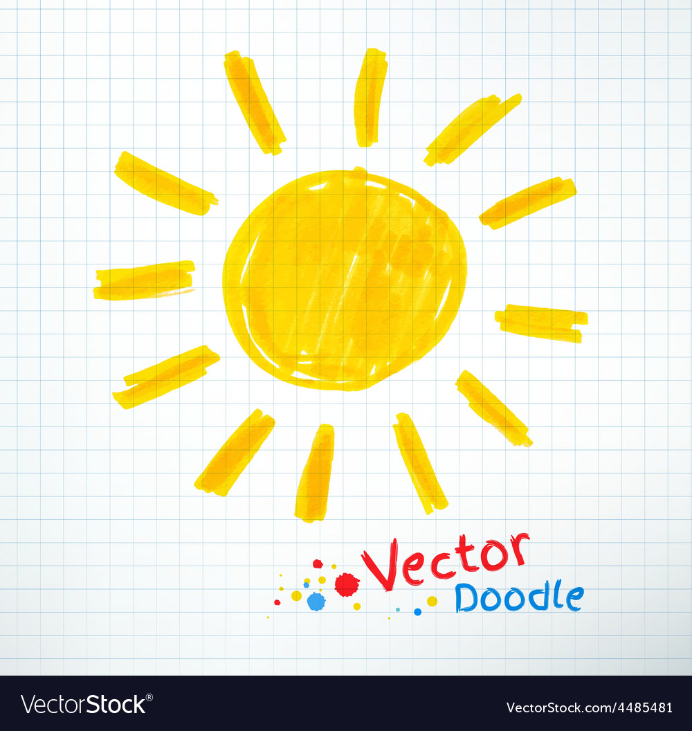 Childlike drawing of sun vector | Price: 1 Credit (USD $1)
