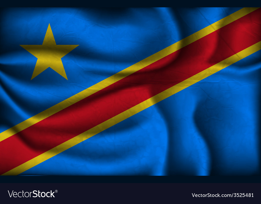 Crumpled flag of congo on a light background vector | Price: 1 Credit (USD $1)