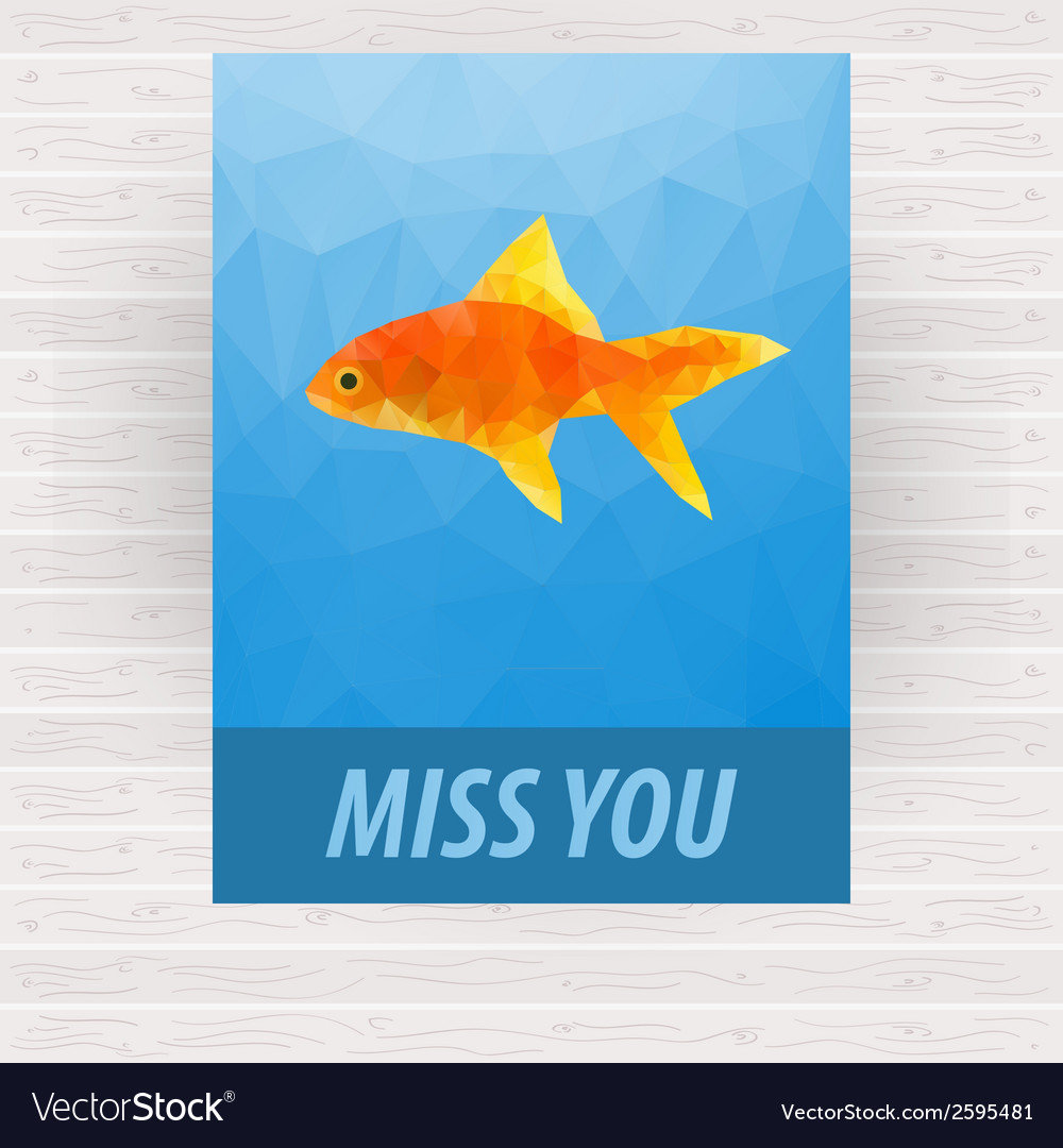 Cute polygonal goldfish design for card vector | Price: 1 Credit (USD $1)