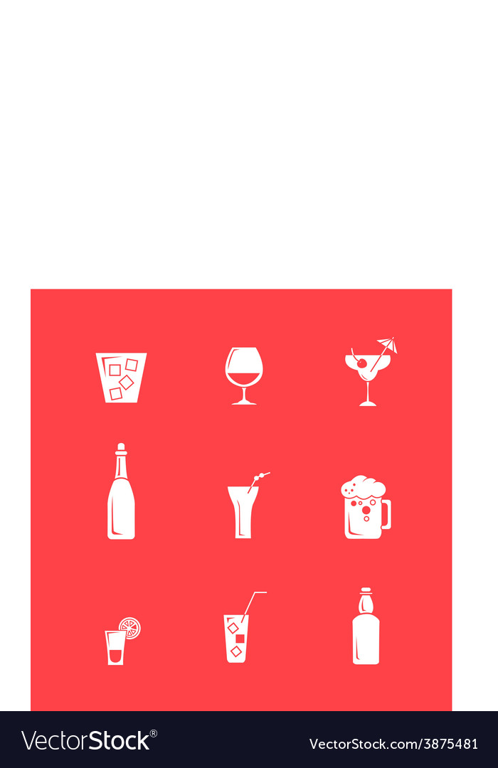 Drink alcohol beverage icons set vector | Price: 1 Credit (USD $1)