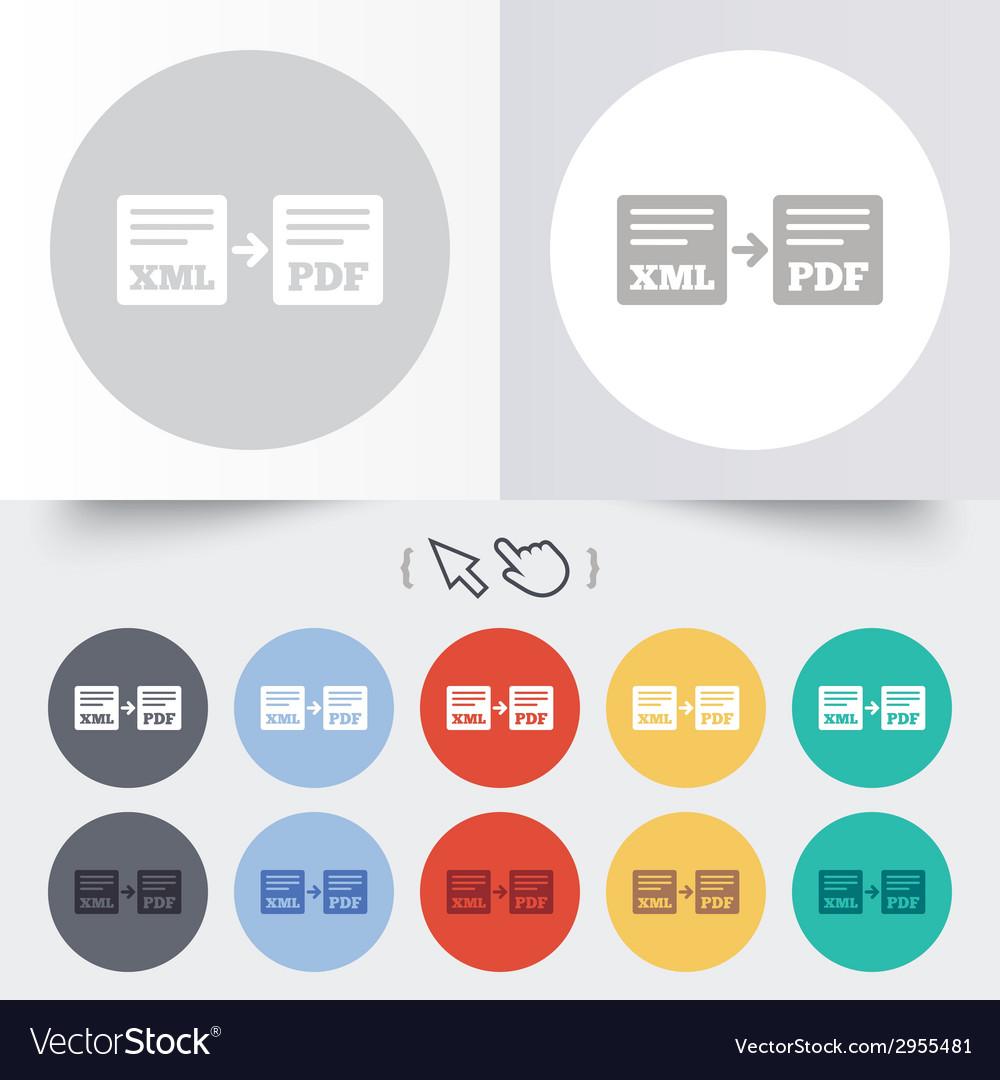 Export xml to pdf icon file document symbol vector | Price: 1 Credit (USD $1)