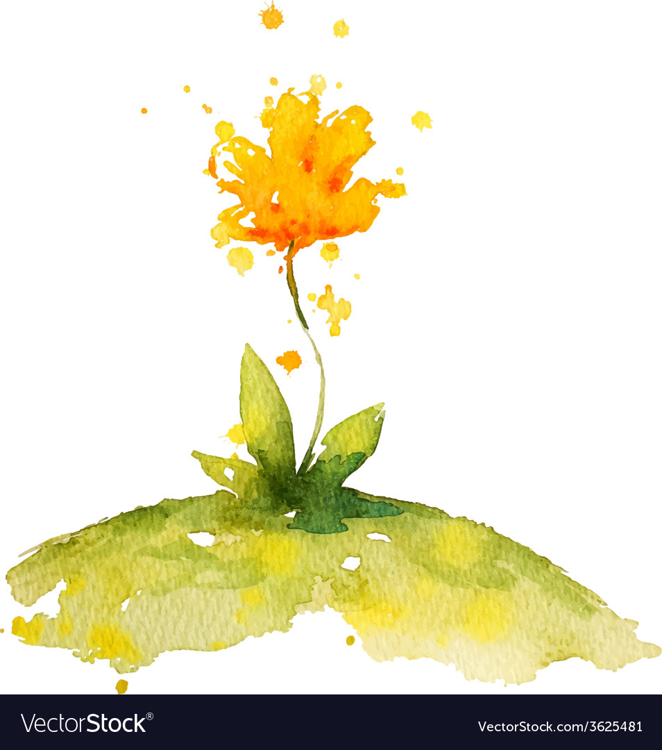 Hand painted yellow watercolor flower vector | Price: 1 Credit (USD $1)
