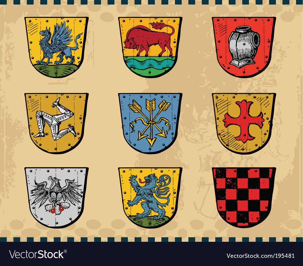 Heraldic shields vector | Price: 1 Credit (USD $1)