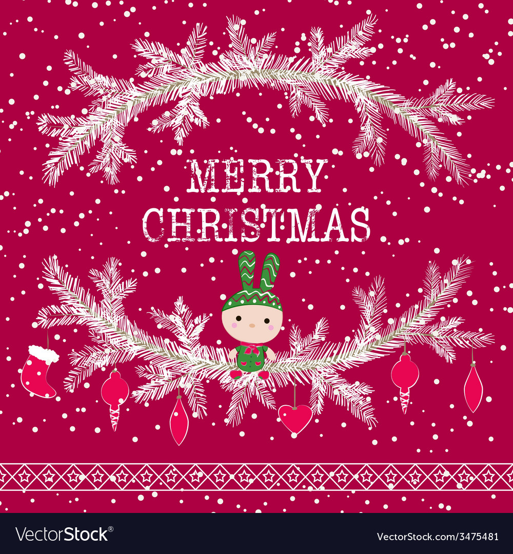 Merry christmas greeting card cute toy bunny vector | Price: 1 Credit (USD $1)