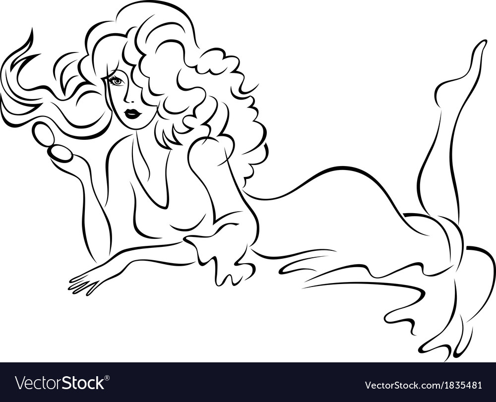 Pretty girl with long hair vector | Price: 1 Credit (USD $1)