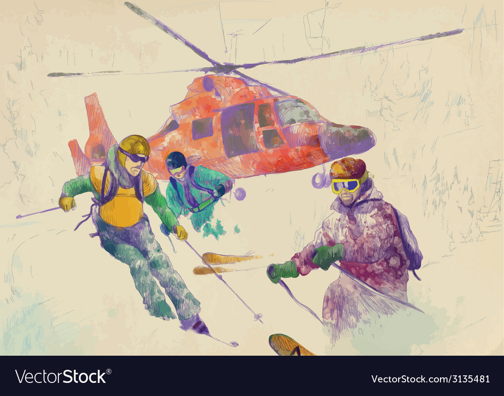 Rescue team skiers vector | Price: 1 Credit (USD $1)