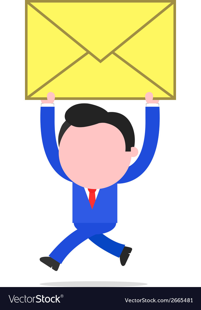 Running businessman raising mail envelope vector | Price: 1 Credit (USD $1)