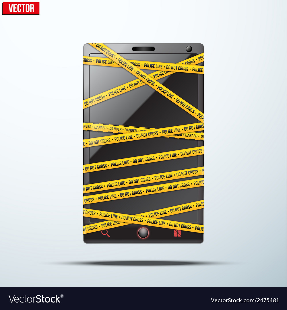 Smartphone mobile phone warning tape wrapped vector | Price: 1 Credit (USD $1)