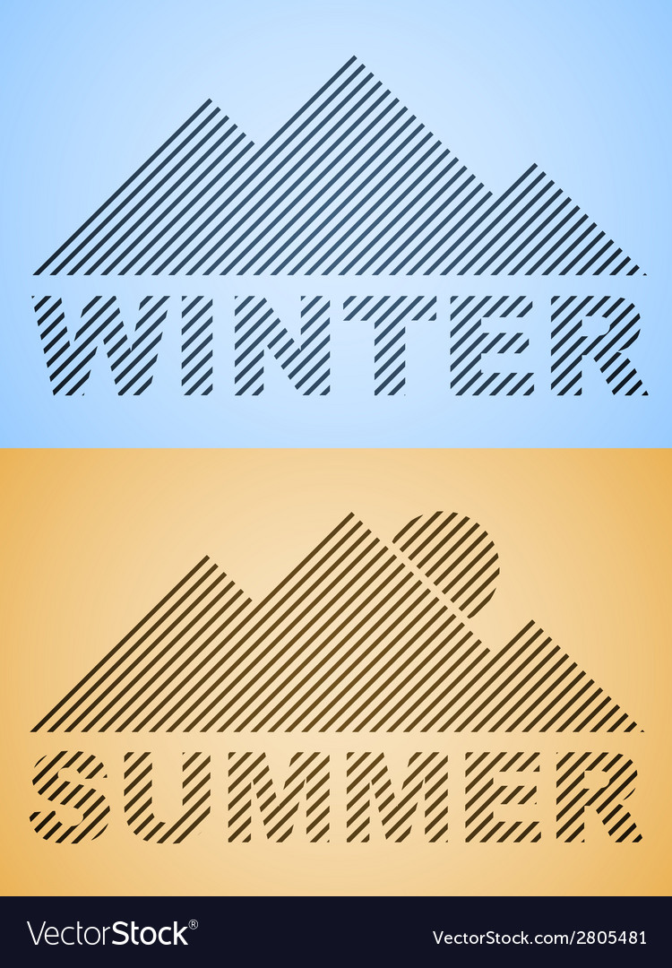 Striped winter and summer mountain vector | Price: 1 Credit (USD $1)