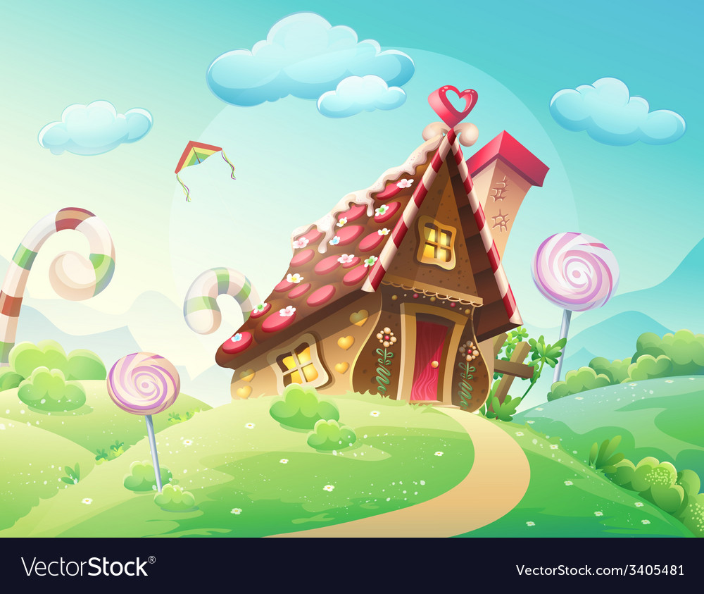 Sweet house of cookies and candy on a background vector | Price: 5 Credit (USD $5)