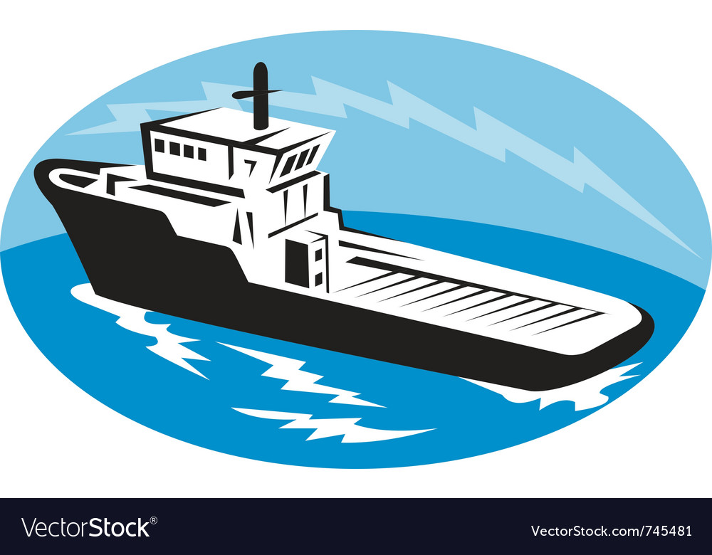 Tugboat ship at sea retro woodcut vector | Price: 1 Credit (USD $1)