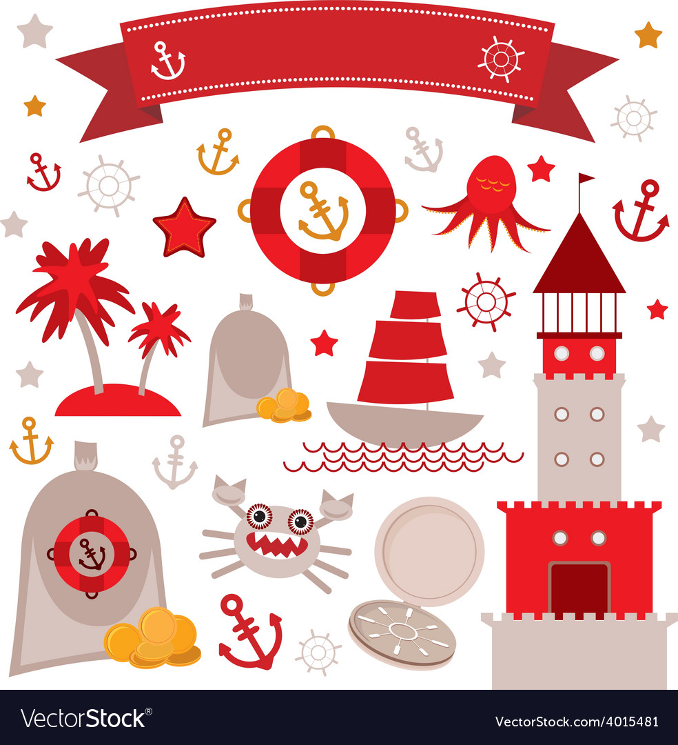 Vintage scrap nautical set cute sea objects red vector | Price: 1 Credit (USD $1)