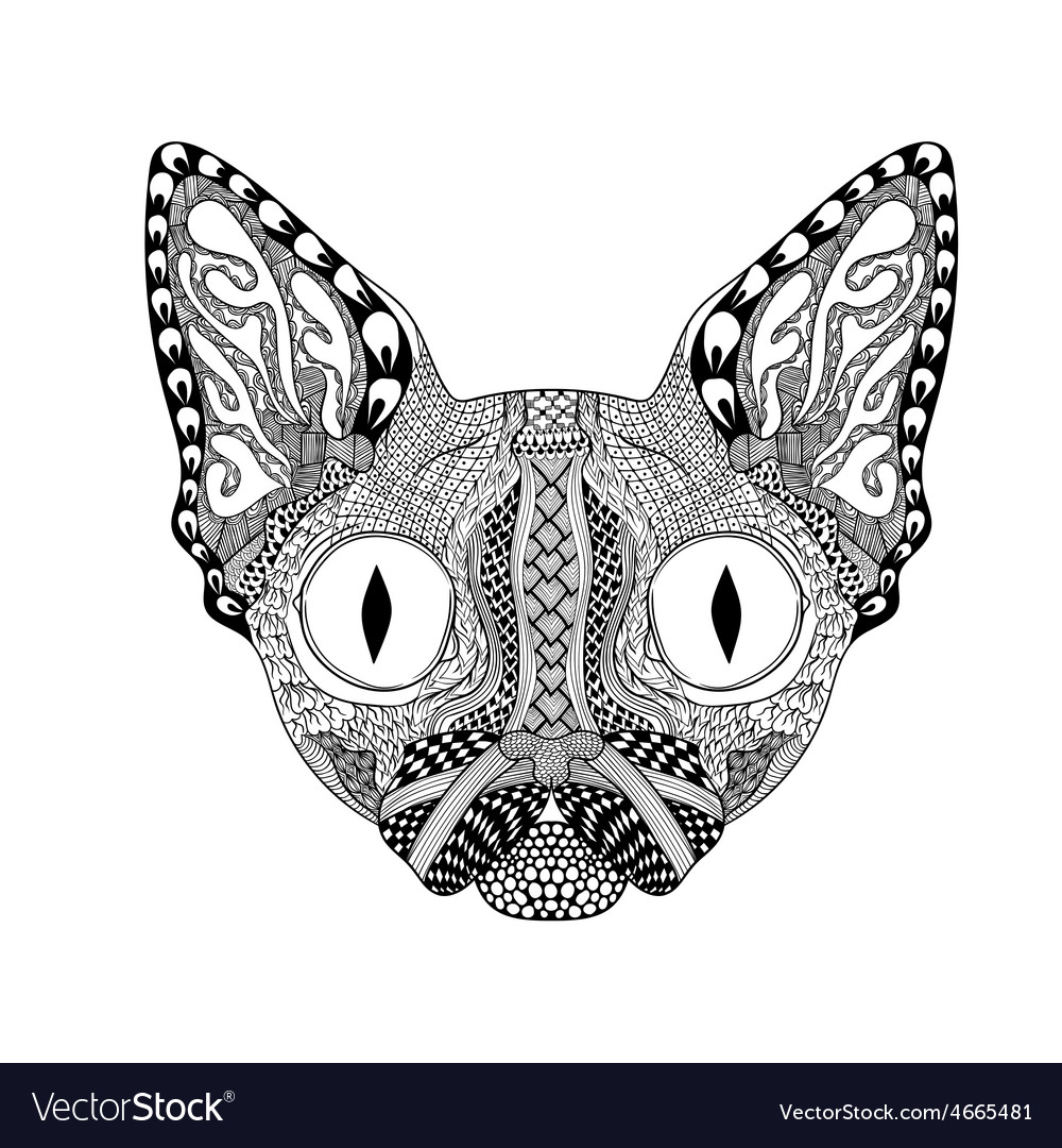 Zentangle stylized face of black cat hand drawn vector | Price: 1 Credit (USD $1)