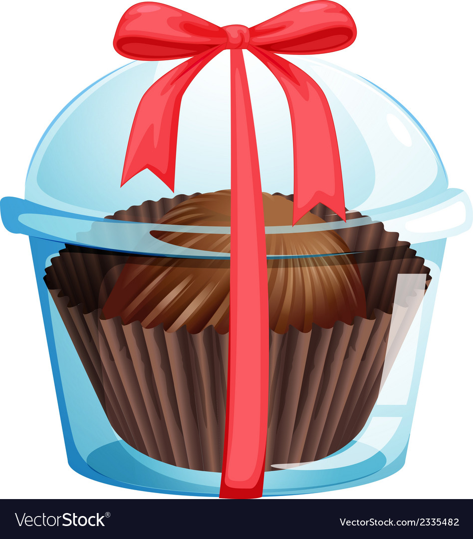 A cupcake inside a container with a red ribbon vector | Price: 1 Credit (USD $1)