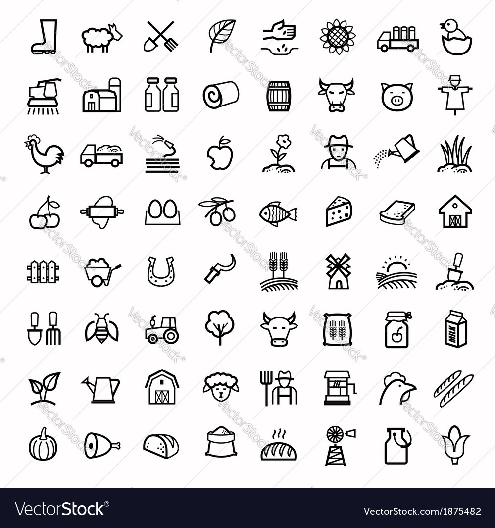 Black agriculture and farming icons set vector | Price: 1 Credit (USD $1)