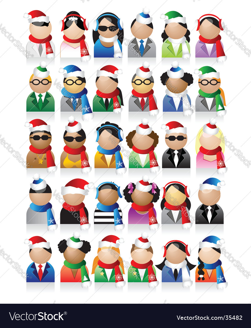 Business people icons christmas holiday vector | Price: 1 Credit (USD $1)
