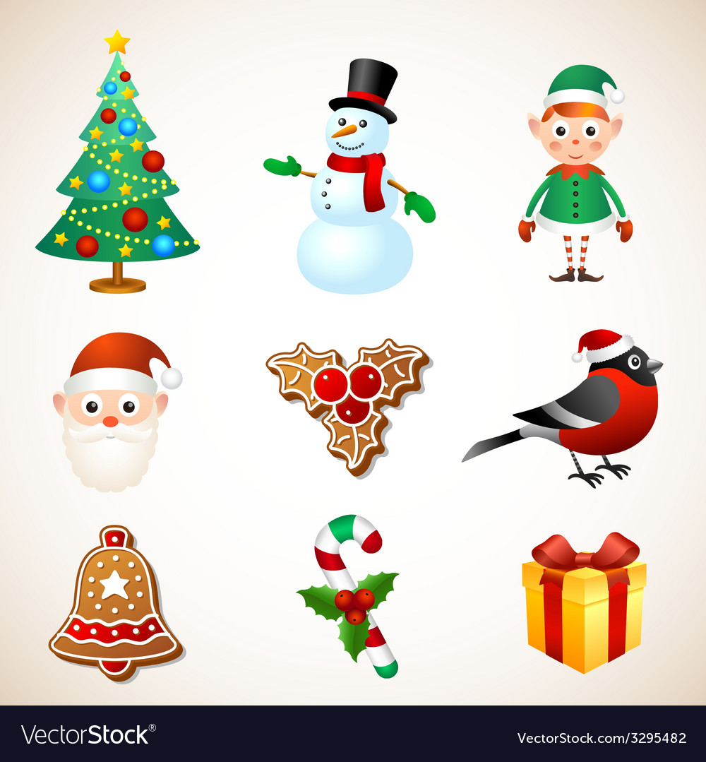 Christmas symbol set vector | Price: 1 Credit (USD $1)