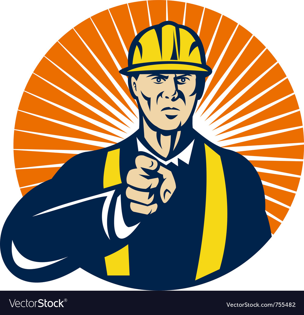 Construction worker hardhat pointing vector | Price: 1 Credit (USD $1)