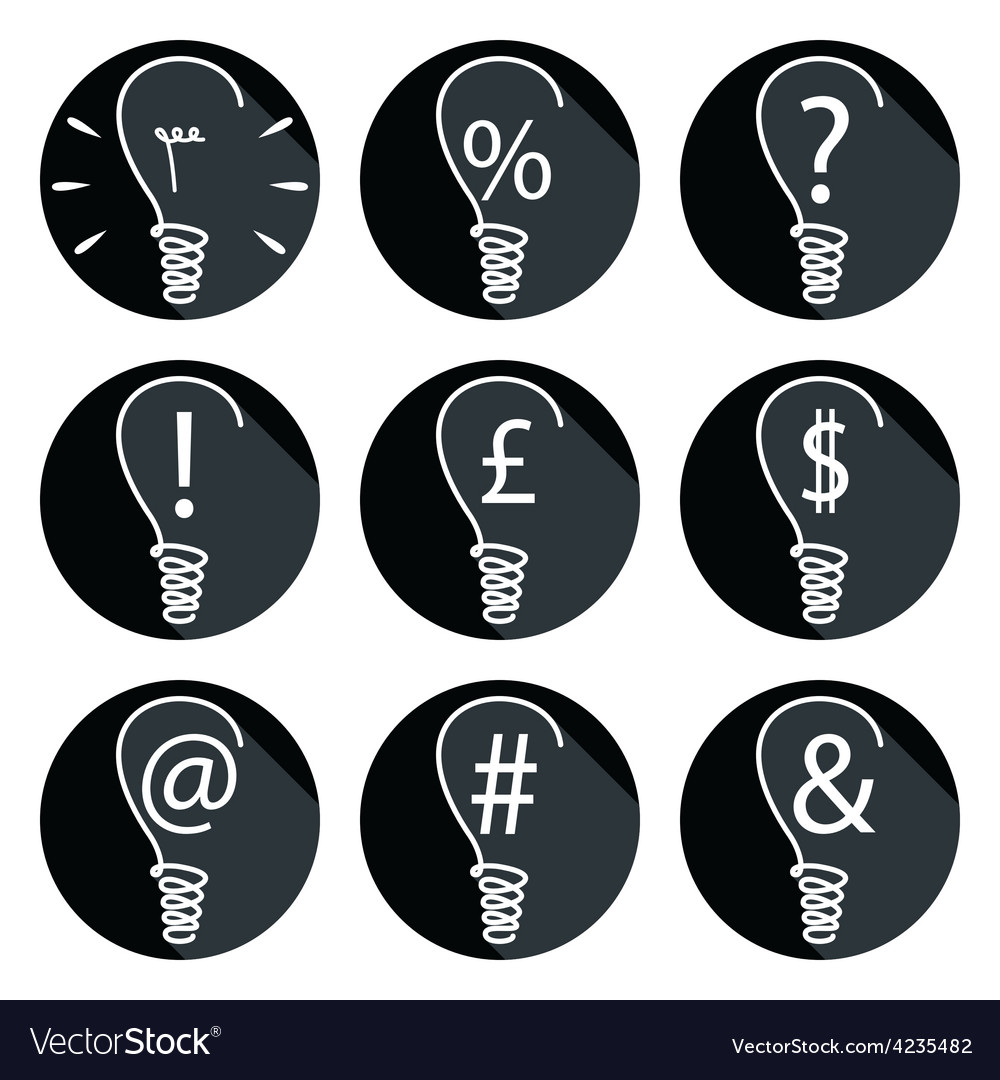 Ideas bulbs set of icons vector   Price: 1 Credit (USD $1)