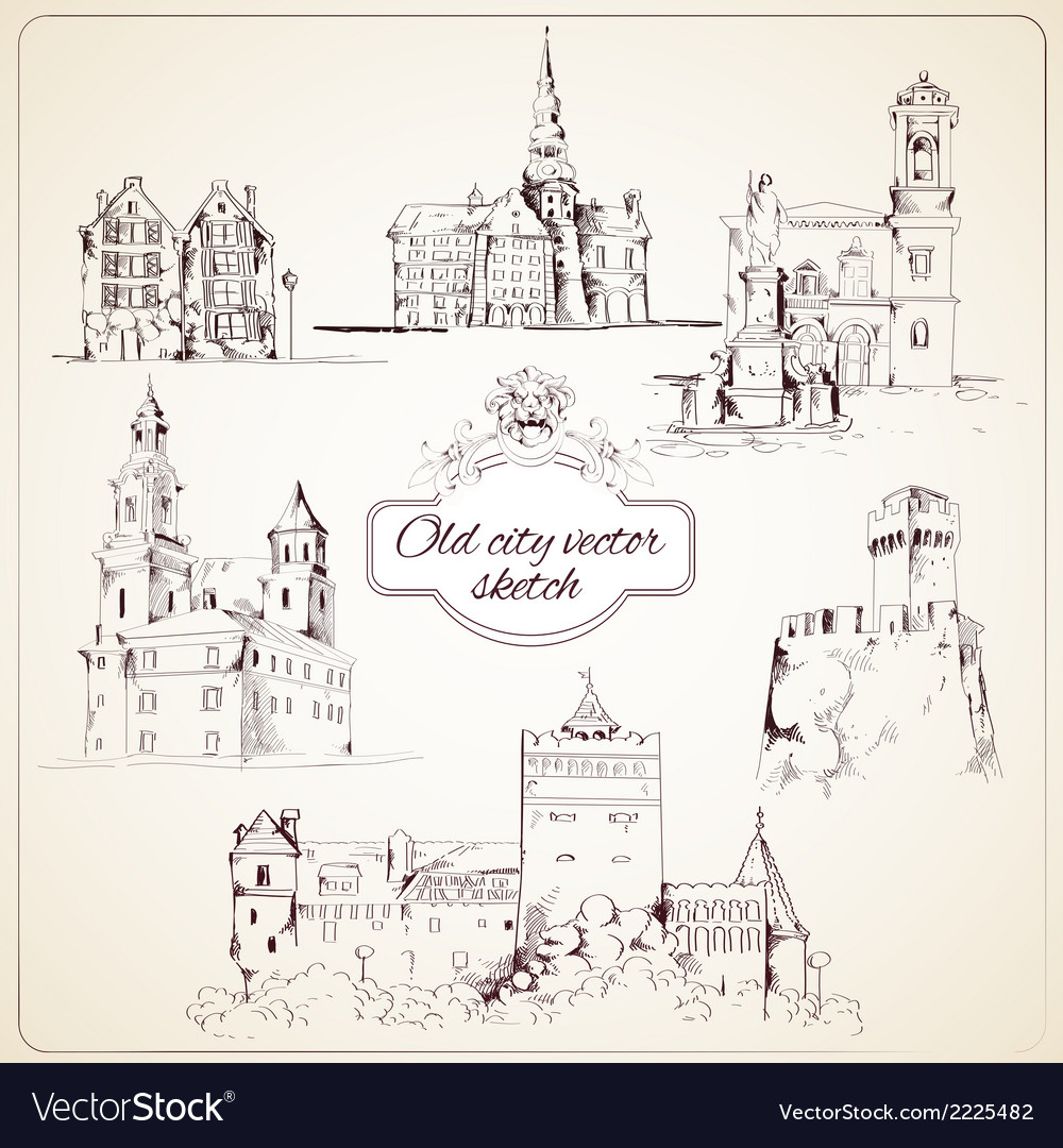 Old city sketch vector | Price: 1 Credit (USD $1)