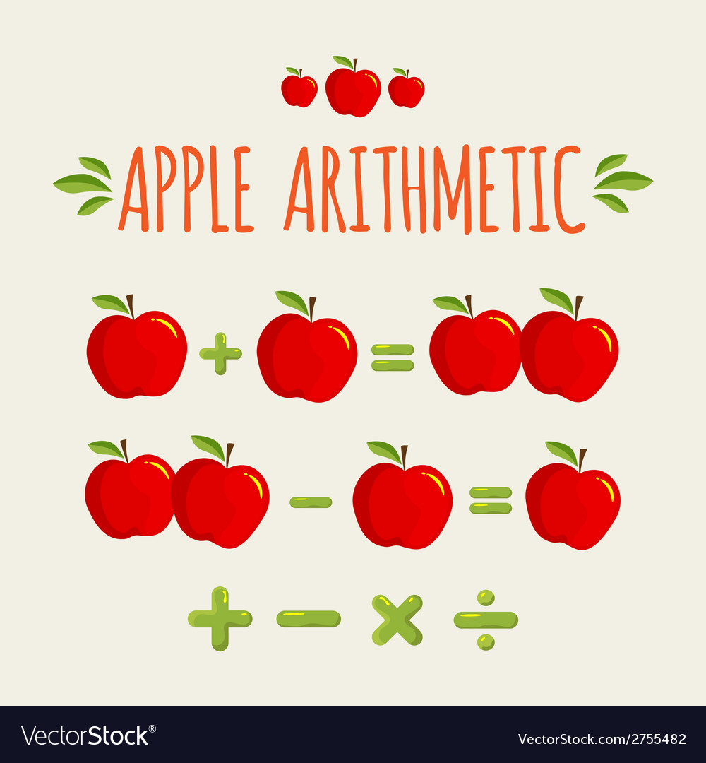 Red apple arithmetic vector | Price: 1 Credit (USD $1)